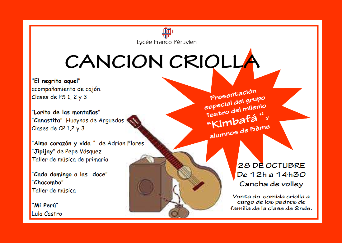 DIA DE LA CANCION CRIOLLA 28 OCT